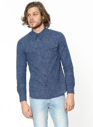 Desenli Uzun Kollu Slim Fit Gömlek-Wrangler